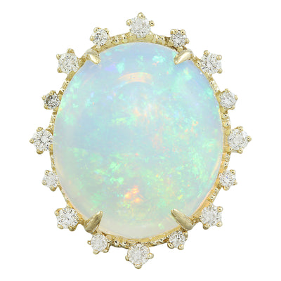 13.95 Carat Opal 14K Yellow Gold Diamond Ring