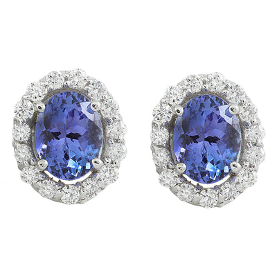 3.07 Carat Tanzanite 14K White Gold Diamond Earrings - Fashion Strada