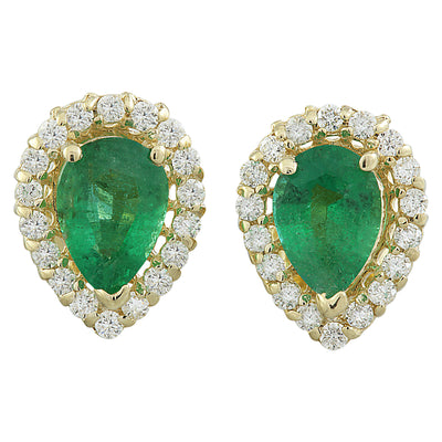 1.45 Carat Emerald 14K yellow Gold Diamond Earrings - Fashion Strada