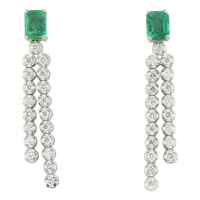 2.10 Carat Emerald 18K White Gold Diamond Earrings