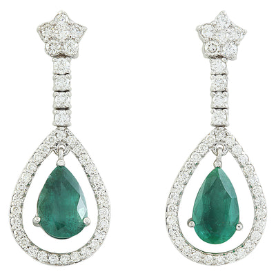 8.80 Carat Emerald 14K White Gold Diamond Earrings