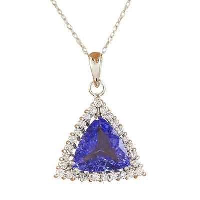 3.00 Carat Tanzanite 14K White Gold Diamond Necklace