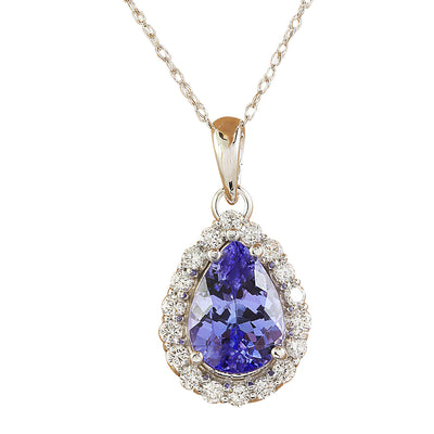 3.46 Carat Tanzanite 14K White Gold Diamond Necklace