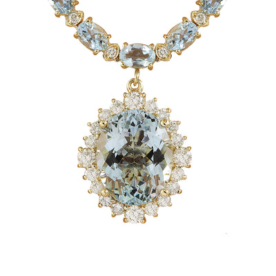 41.26 Carat Aquamarine 14K Yellow Gold Diamond Necklace