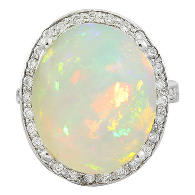 11.55 Carat Opal 14K White Gold Diamond Ring