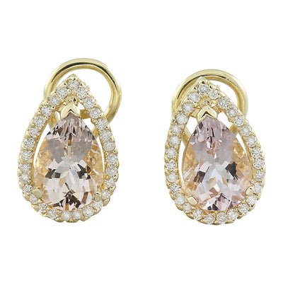 4.30 Carat Morganite 14K Yellow Gold Diamond Earrings