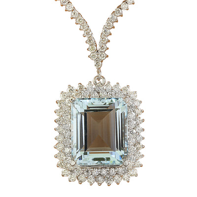 28.60 Carat Aquamarine 18K White Gold Diamond Necklace