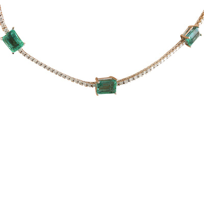 8.23 Carat Emerald 14K White Gold Diamond Necklace