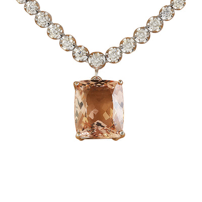 12.60 Carat Morganite 14K White Gold Diamond Necklace