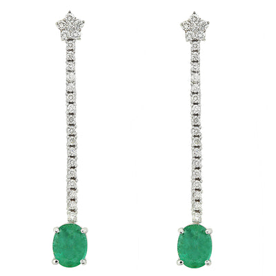 4.50 Carat Emerald Diamond Earrings