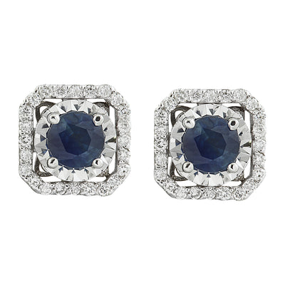 2.65 Carat Sapphire 14K White Gold Diamond Earrings - Fashion Strada