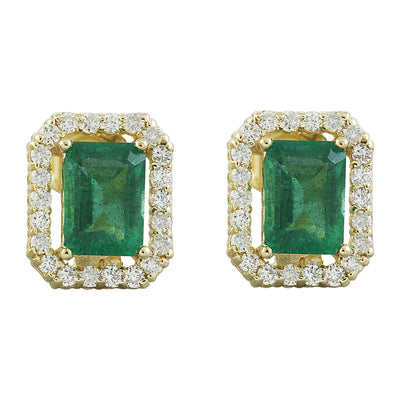 2.37 Carat Emerald 14K Yellow Gold Diamond Earrings - Fashion Strada