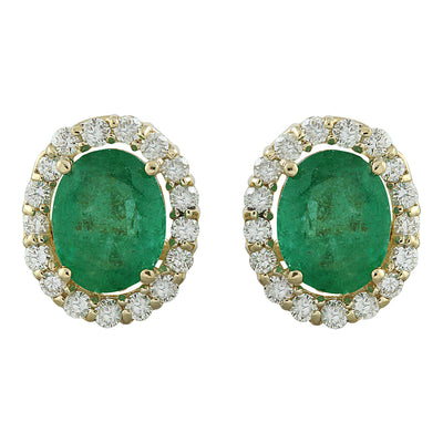 4.70 Carat Emerald 14K Yellow Gold Diamond Earrings