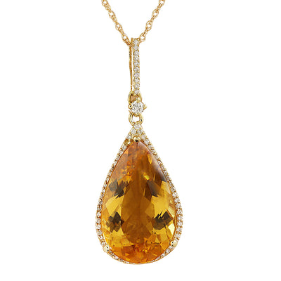 9.70 Carat Citrine 14K Yellow Gold Diamond Necklace