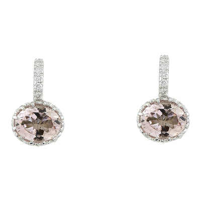 3.65 Carat Morganite 14K White Gold Diamond Earrings