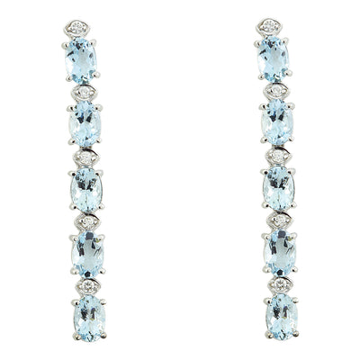 4.53 Carat Aquamarine 14K White Gold Diamond Earrings - Fashion Strada
