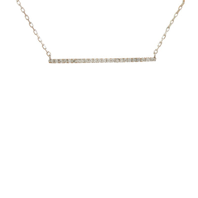 0.25 Carat Natural Diamond 14K Solid White Gold Bar Necklace - Fashion Strada