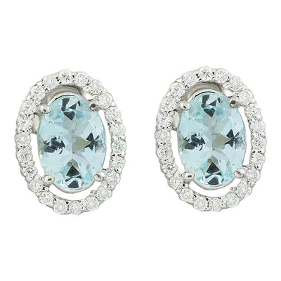 2.35 Carat Aquamarine 14K White Gold Diamond Earrings - Fashion Strada