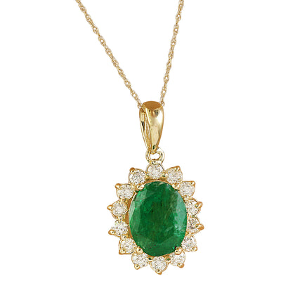 1.88 Carat Emerald 14K Yellow Gold Diamond Pendant Necklace