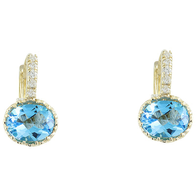 4.40 Carat Topaz 14K Yellow Gold Diamond Earrings