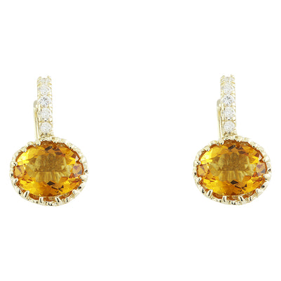 3.46 Carat Citrine 14K Yellow Gold Diamond Earrings - Fashion Strada