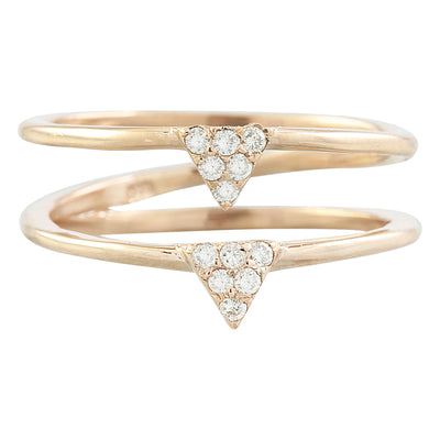 0.12 Carat Diamond 14K Dual Triangle Rose Gold Ring
