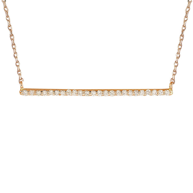 0.25 Carat Natural Diamond 14K Solid Rose Gold Bar Necklace