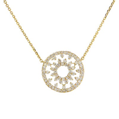 1.00 Carat Diamond 14K Yellow Gold Medallion Pendant Necklace