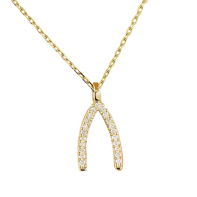 0.11 Carat Natural Diamond 14K Yellow Gold Wishbone Necklace