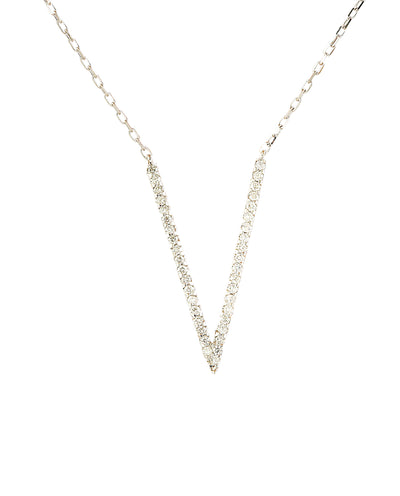 0.40 Carat Natural Diamond 14K Rose Gold V Necklace