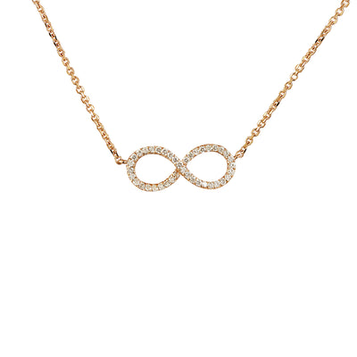 0.30 Carat Natural Diamond 14K Rose Gold Infinity Necklace
