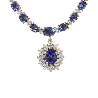 48.77 Carat Tanzanite 14K White Gold Diamond Pendant Necklace