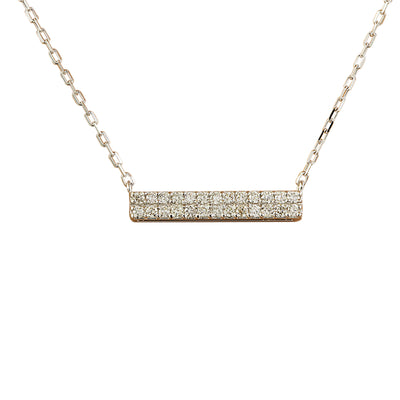 0.40 Carat Natural Diamond 14K White Gold Bar Necklace - Fashion Strada