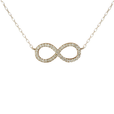 0.30 Carat Natural Diamond 14K White Gold Infinity Necklace