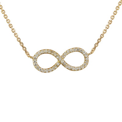 0.30 Carat Natural Diamond 14K Yellow Gold Infinity Necklace