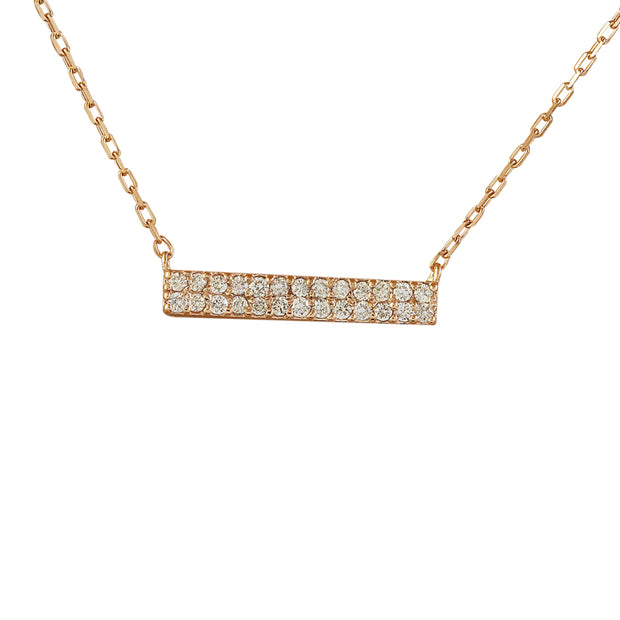 0.40 Carat Natural Diamond 14K Rose Gold Bar Necklace