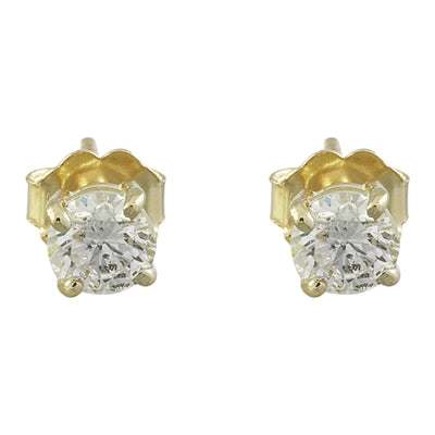 0.80 Carat Diamond 14K Yellow Gold Solitaire Stud Earrings