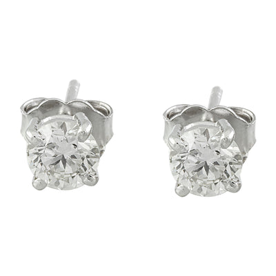 0.80 Carat Diamond 14K White Gold Solitaire Stud Earrings