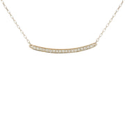 0.20 Carat Natural Diamond 14K White Gold Bar Necklace