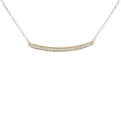 0.20 Carat Natural Diamond 14K White Gold Bar Necklace - Fashion Strada