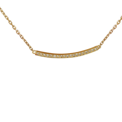 0.20 Carat Natural Diamond 14K Yellow Gold Bar Necklace - Fashion Strada