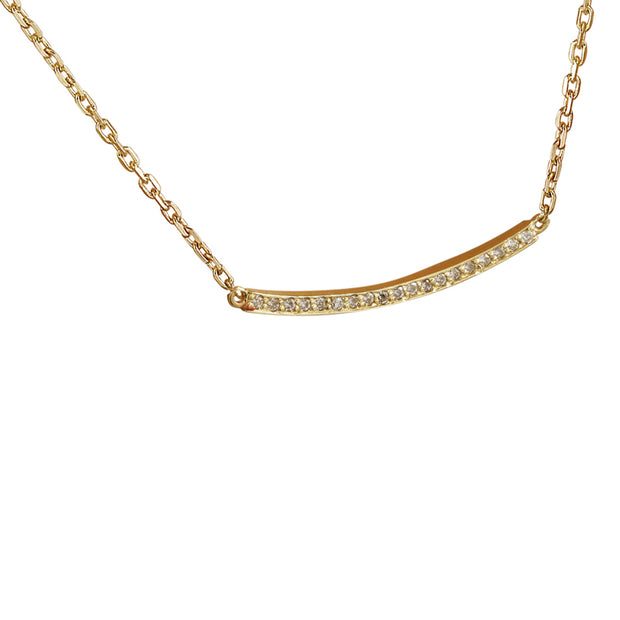 0.20 Carat Natural Diamond 14K Yellow Gold Bar Necklace
