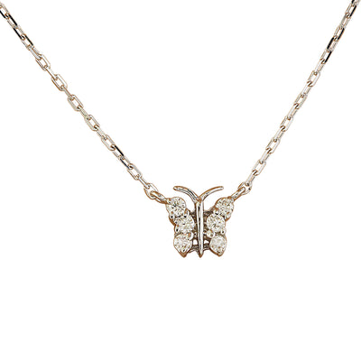 0.20 Carat Natural Diamond 14K White Gold Butterfly Necklace