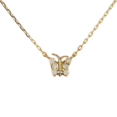 0.20 Carat Natural Diamond 14K Yellow Gold Butterfly Necklace