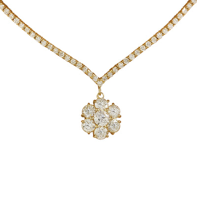 7.15 Carat Diamond 18K Yellow Gold Necklace