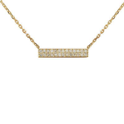 0.40 Carat Natural Diamond 14K Yellow Gold Bar Necklace
