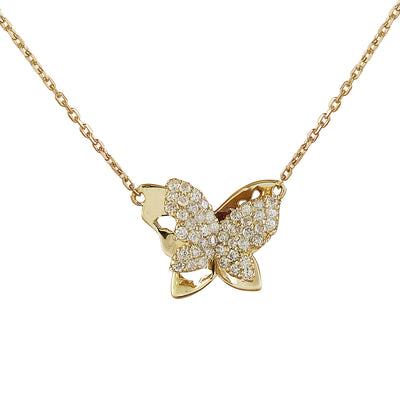 0.50 Carat Natural Diamond 14K Yellow Gold Butterfly Necklace