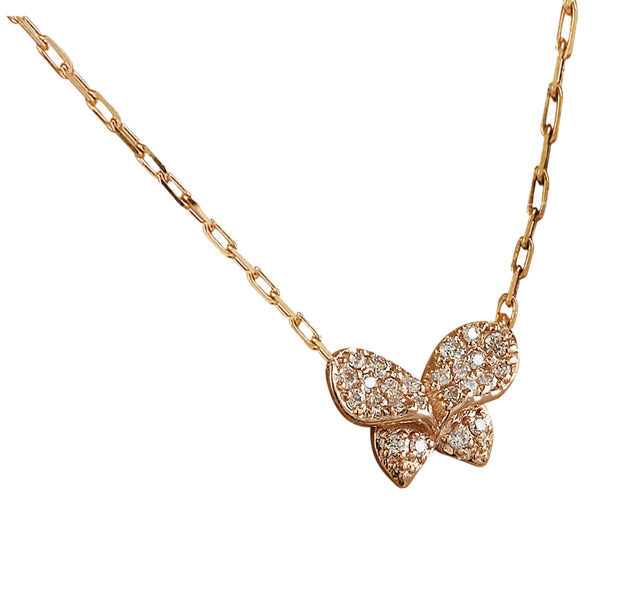 0.20 Carat Natural Diamond 14K Rose Gold Butterfly Necklace