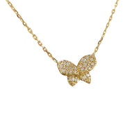 0.20 Carat Natural Diamond 14K Yellow Gold Butterfly Necklace - Fashion Strada