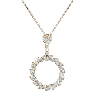 1.10 Carat Natural Diamond 14K White Gold Necklace
